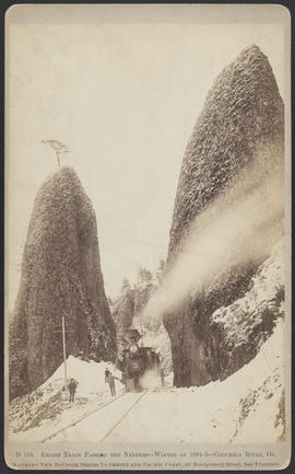 """D118. Relief Train Passing the Needles--Winter of 1884-5--Columbia River, Or."""