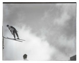 Ski jumper in midair, probably at Multorpor hill