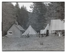 Tents at Civilian Conservation Corps' Toll Gate camp near Rhododendron, Oregon