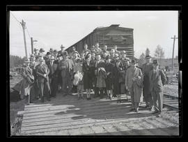Group on train platform, probably at Pacific International Livestock Exposition