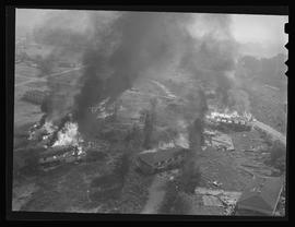 Aerial view of Vanport wreckage fire