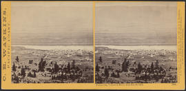 """Dalles City, Columbia River, from Sun Set Hill."" (Stereograph 1305)"