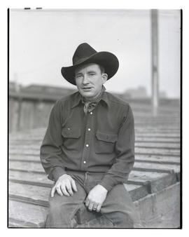Fox O'Callahan, three-quarters portrait, probably at Pacific International Livestock Exposition