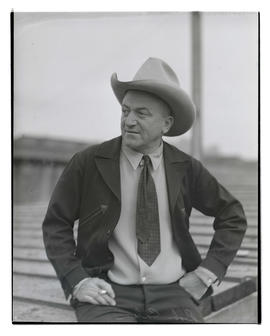 Bob Calen, half-length portrait, probably at Pacific International Livestock Exposition