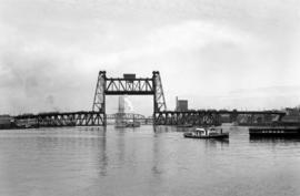 Steel Bridge with steamboat and sailing ship