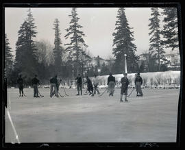 Playing hockey on pond, Portland area