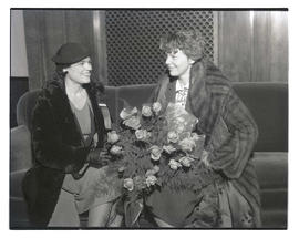 Amelia Earhart and unidentified woman