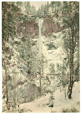 Multnomah Falls in winter, hand colored