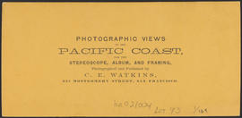 "Verso of, ""View on the Columbia River, from the O.R.R., Cascades."" (Stereograph 1289)"