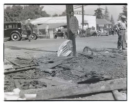 Burned rubble at intersection in Cascade Locks, Oregon