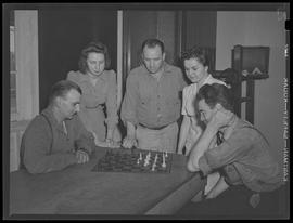 People playing chess at Albina Engine & Machine Works, Portland