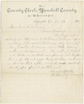 Letter to Sarah Ann Palmer from H. Hurley? At the Office of the Yamhill County Clerk