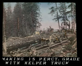 Hauling logs on a plank road