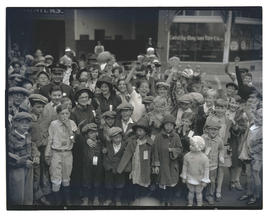 Crowd of children with adults from Salvation Army