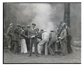Civilian Conservation Corps workers getting first meal at camp in Zigzag, Oregon