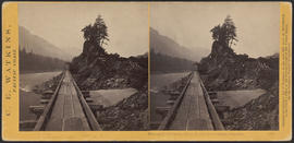 """View on the Columbia River, Middle Block House, Cascades."" (Stereograph 1263)"