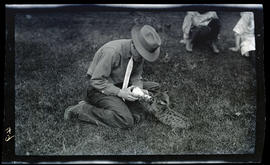 William Finley feeding a cougar kitten
