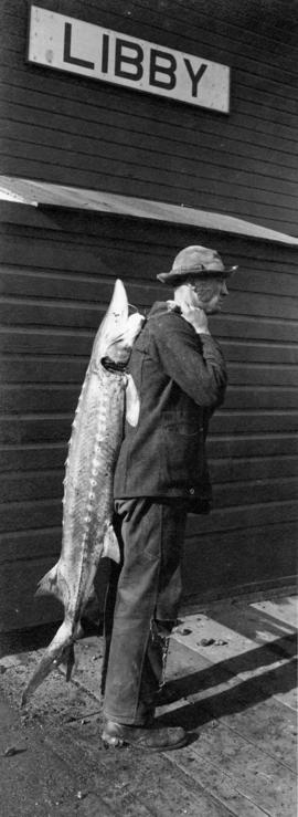 Man with white sturgeon at Great Northern Railway station, Libby, Montana, circa 1912