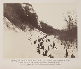 """D.101. Clearing the Track of the O.R. & N.R.R., from Rooster Rock to Oneonta Falls."""