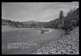 U.S. Mail Boat - Forestry Bridge approaching Singing Springs Ranch - Rogue River, Agness, Oregon