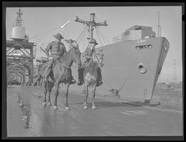 Guards on horseback at Oregon Shipbuilding Corporation, Portland