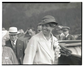 First Lady Eleanor Roosevelt at Bonneville dam construction site