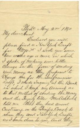 Letter to Sarah Ann Palmer from her nephew A.D. Stockton regarding financial matters.