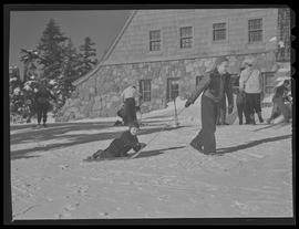 Children with sled at Timberline Lodge