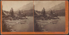 """The Middle Block House, Cascades, Columbia River."" (Stereograph 1259)"