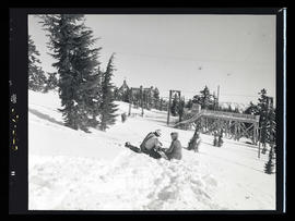 Portland General Electric linemen and woman outside Timberline Lodge