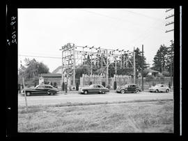 Cars in front of substation