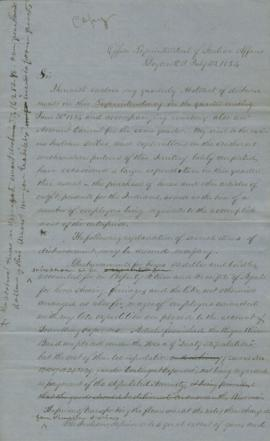 Copy of letter transmitting abstracts of disbursement for quarter ending 30th June 1854