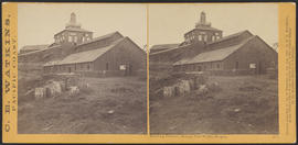 """Smelting Furnace, Oswego Iron Works, Oregon."" (Stereograph 1211)"