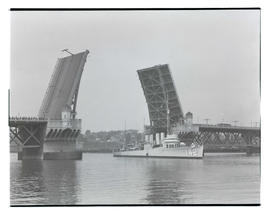 U. S. Navy ship passing Burnside Bridge, Portland
