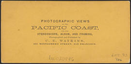 "Verso of, ""Salmon Fishing in the Cascades, Columbia River."" (Stereograph 1267)"