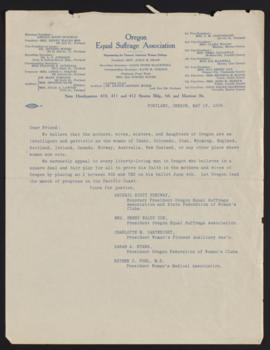 Letter from Oregon Equal Suffrage Association