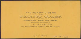 "Verso of, ""View on the Columbia River from the O.R.R. Cascades."" (Stereograph 1294)"