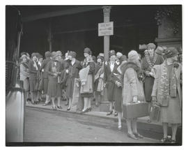 Crowd of unidentified women outside Union Station, Portland