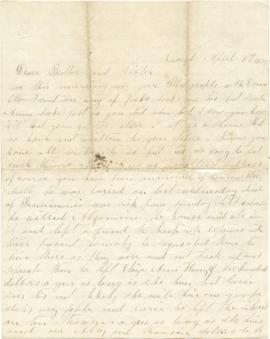 Letter to Sarah Ann Palmer from her sister Hannah