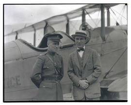 Eddie Rickenbacker and Lieutenant Oakley G. Kelly with airplane
