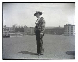 Unidentified member of Loyal Order of Moose? on rooftop, full-length portrait