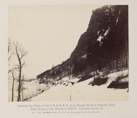 """D.110. Clearing the Track of the O.R. & N.R.R., from Rooster Rock to Oneonta Falls."""