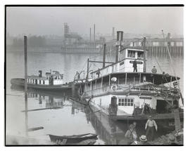 River steamer Beaver partially submerged after collision
