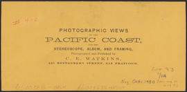 "Verso of, ""The Middle Block House, Cascades, Columbia River."" (Stereograph 1259)"