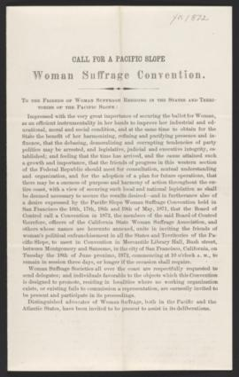 Call for a Pacific Slope Woman Suffrage Convention, 1872