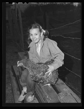 Trudy Rech with chicken