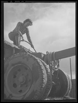 Logger, Miss Elaine Mitchell on top of logging truck