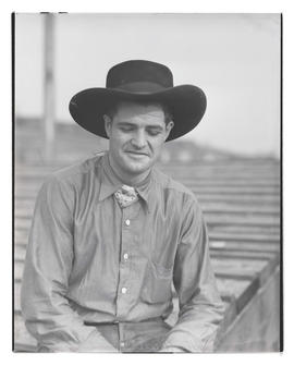 Don Tyler, half-length portrait, probably at Pacific International Livestock Exposition