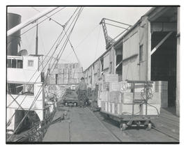 Crates of Duckwall fruit being loaded onto ship