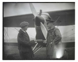 Lieutenant Oakley G. Kelly? and unidentified man in front of airplane